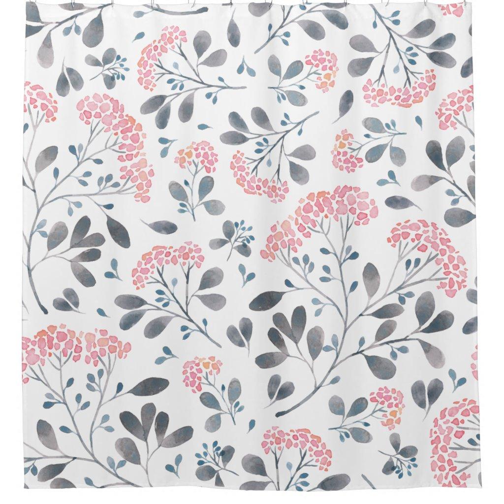 Delicate Pink Flowers Watercolors Pattern