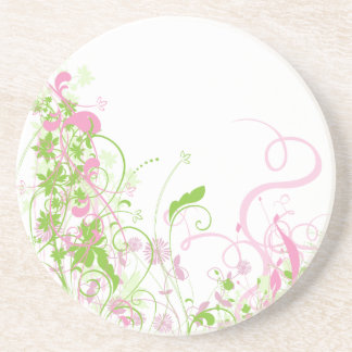 Delicate Pink & green floral swirls Beverage Coaster