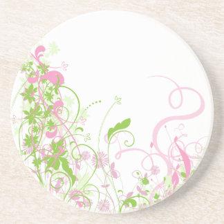 Delicate Pink & green floral swirls Beverage Coaster