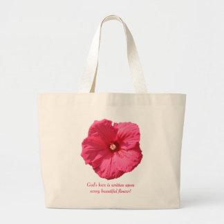 Delicate Pink Hollyhock-God's Love Large Tote Bag
