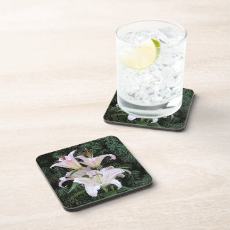 Delicate Pink Lily Blossoms Beverage Coaster