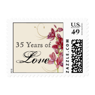 Delicate Pink Orchid Floral Anniversary Love Stamp