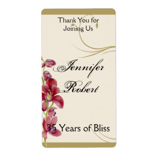 Delicate Pink Orchid Floral Anniversary Wine Label