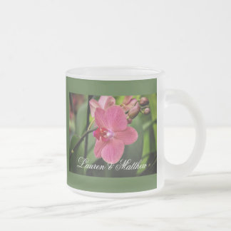 Delicate pink orchid 10 oz frosted glass coffee mug