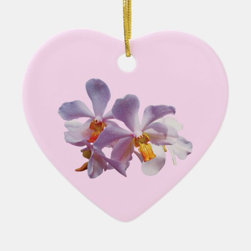 Delicate Pink Orchids Double-Sided Heart Ceramic Christmas Ornament