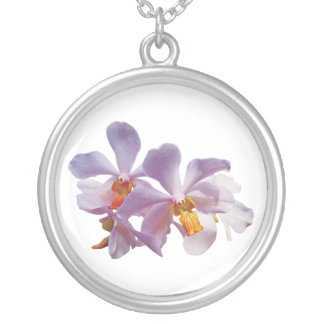 Delicate Pink Orchids Round Pendant Necklace