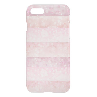 Delicate Pink Peach Bokeh Stipes Transparent iPhone 7 Case