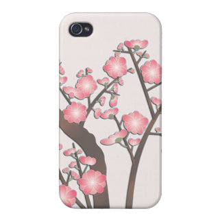 Delicate pink plum flowers japanese pattern cover for iPhone 4