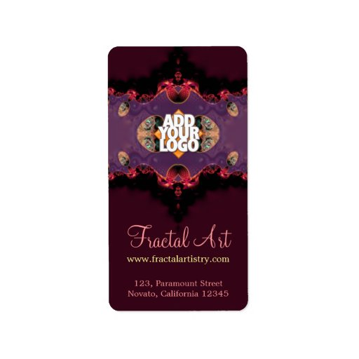 Delicate Pink Purple Fractal Artistry Vertical Label