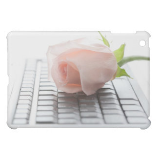 Delicate Pink Rose on White Keyboard iPad Case