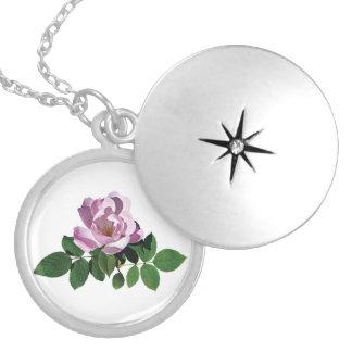 Delicate Pink Rose Round Locket Necklace