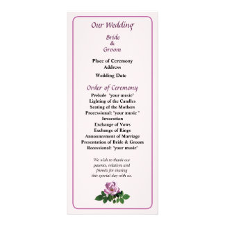 Delicate Pink Rose Wedding Program