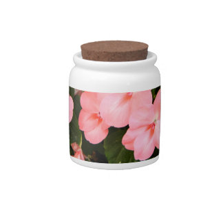 Delicate pink spring flowers candy jar
