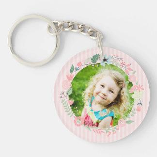 Delicate Pink Stripes Custom Photo Floral Frame Keychain
