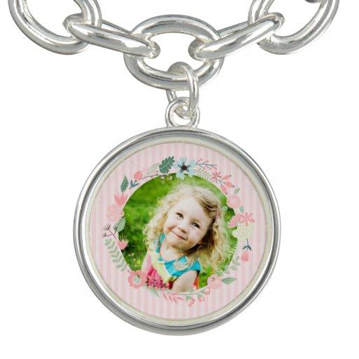Delicate Pink Stripes Custom Photo Floral Frame Charm Bracelet
