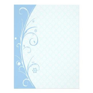 Delicate Powder Blue Damask Letterhead Stationery