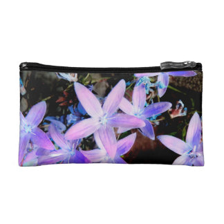 Delicate Pretty Girly Lilac Garden Flowers Makeup Bag