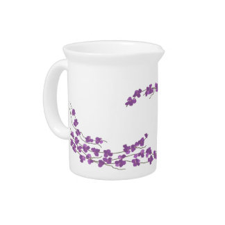 Delicate Purple Blossoms Drink Pitcher