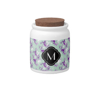 Delicate Purple Damask Pattern with Monogram Candy Jars