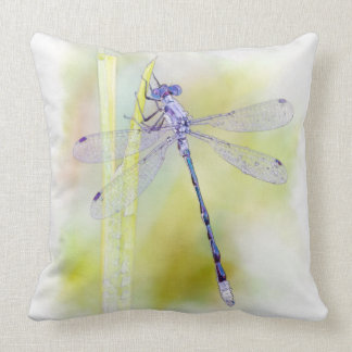 Delicate Purple Dragonfly Watercolor Painting Throw Pillow