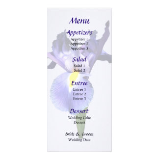 Delicate Purple Iris Wedding Menu