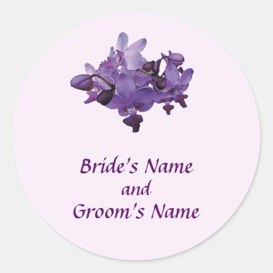 Delicate Purple Orchids Save the Date Classic Round Sticker