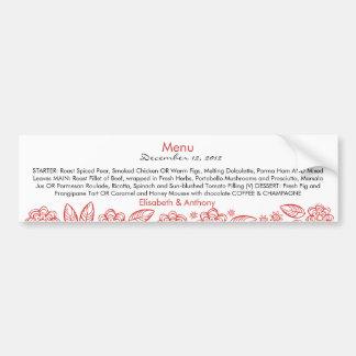 delicate red flowers wedding menu bumper sticker