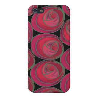 Delicate Red, Pink and Green Art Nouveau Roses Cover For iPhone SE/5/5s