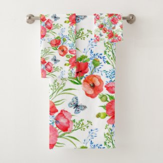 Delicate Red Poppies and Ferns Pattern Bath Towel Set