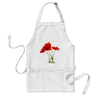 Delicate Red Poppies Vector Adult Apron