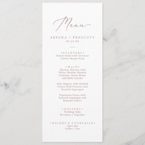 Delicate Rose Gold Calligraphy Wedding Dinner Menu