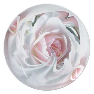 Delicate rose in marble dinner plate