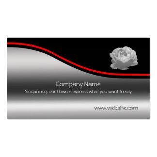 Delicate Rose, red swoosh on metallic-effect Business Card