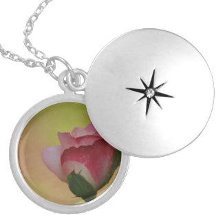 Delicate Rose Round Locket Necklace