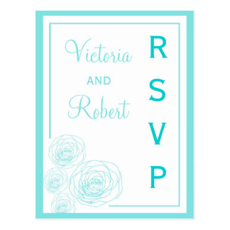 Delicate Roses RSVP Postcard, Turquoise