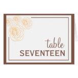 Delicate Roses Table Card, Orange & Brown