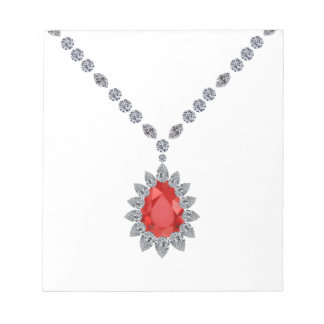 Delicate Ruby Pendant Necklace Note Pads