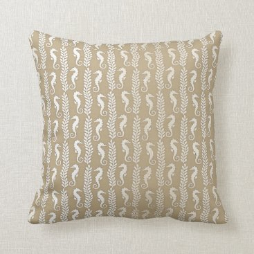 Beach Themed Delicate Seahorses Silver Ivory Pastel Ocean Beach Throw Pillow