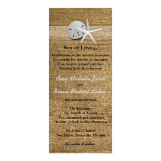 "Delicate Seashells on Burlap Unique Beach Wedding 4"" X 9.25"" Invitation Card"