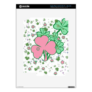 Delicate Shamrocks Pink and Green Skins For iPad 3