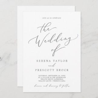 Delicate Silver Calligraphy All In One Wedding Invitation