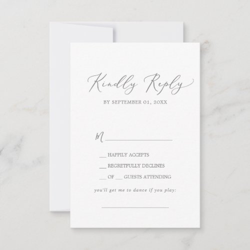 Delicate Silver Calligraphy Song Request RSVP Card
