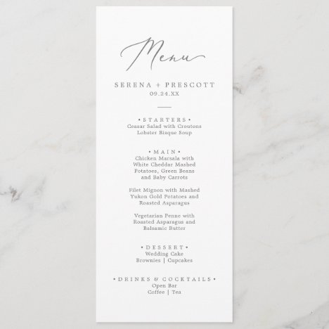 Delicate Silver Calligraphy Wedding Dinner Menu