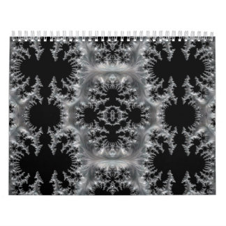 Delicate Silver Filigree on Black Fractal Abstract Calendar
