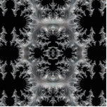 Delicate Silver Filigree on Black Fractal Abstract Cutout