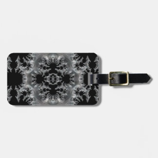 Delicate Silver Filigree on Black Fractal Abstract Luggage Tag