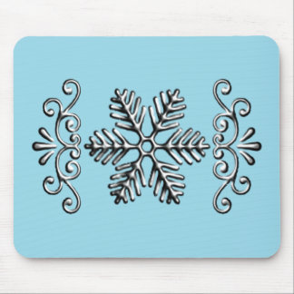Delicate Silver Snowflake On Blue Mouse Pad