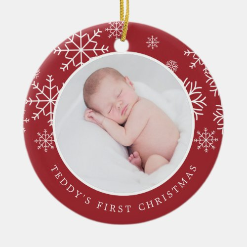 Delicate Snow | Baby's First Christmas Photo Ceramic Ornament