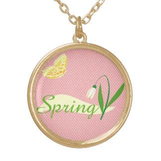 Delicate snowdrop, harbinger of spring round pendant necklace