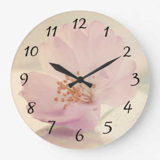 Delicate Soft Pink Cherry Blossom Flower Large Clock